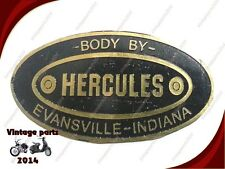 HERCULES BODY BUILDERS ETCHED BRASS DATA PLATE EVANSVILLE INDIANA