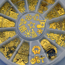 3D Christmas Nail Art Decorations Metal Slice Golden Sticker Decals Foil Wheel