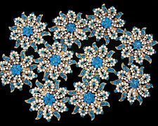 Wholesale 10x Crystal Rhinestone Brooches Pins Wedding Bridal Bouquet Decor Blue