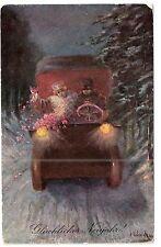 Neujahr Paar im Automobil Litho signiert Ulrich Verlag B.K.W. 1907