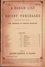 Bernard Quaritch Catalog of Books Recent Purchases  1893 #133