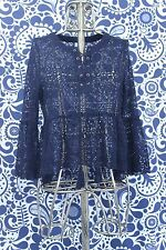 Paper Crane Lace Peasant Tie Up Peplum Black Long Sleeve Top Size Large