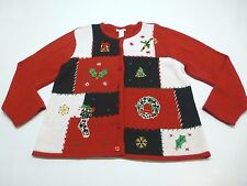 Traditions Womens Size 1X Cardigan Ugly Christmas Sweater Good Condition