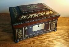 EXQUISITE WILLIAM IV ROSEWOOD LADIES TABLE BOX WITH DECORATIVE BRASS INLAY c1830