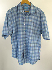 Zetti Blue and White Plaid Button Front Western Short Sleeve Shirt Size XL