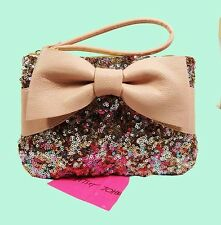 BETSEY  JOHNSON  FAIRY BOW Pink Leather Wristlet Bag Msrp $65