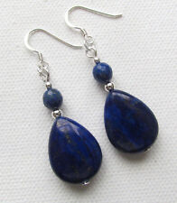 Lapis Lazuli Teardrop 925 Sterling Silver Drop PIERCED Earrings Jellybean*