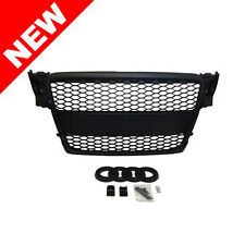 09-12 AUDI A4/S4 B8 BADGELESS HONEYCOMB HEX MESH GRILLE w/ BADGE HOLDER - BLACK