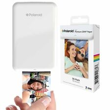 Polaroid Zip Mobile Printer, Neoprene Case And 50 Pack ZINK Zero Ink Paper White