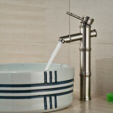 Brushed Nickel Bathroom Faucet Bamboo Style Vessel Sink Mixer Tap Deck Mounted