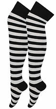 GIRLS LADIES HALLOWEEN BLACK AND WHITE OVER THE KNEE SOCKS  FANCY DRESS COSTUME