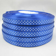 Bulk 10 Yards 3/8 9mm Polka Dot Ribbon Satin for Craft Supplies roll Blue ZS1