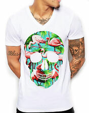 Distinkt Youth Flamingo Skull V Neck T Shirt Tee Deep Men Print Candy Tropical