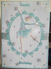 HANDMADE WINTER BIRTHDAY CARD SPORTS HOBBIES ICE SKATING GIRL IN TURQUOISE BLUE