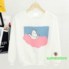 2016 Amo Gilr's Little Lovely Pink Blue Clouds Hippo Mumin Hoodies Sweaters Cute