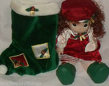 Precious Moments Doll HOLLY in Stocking 1999 Christmas Enesco QVC Exc 16""