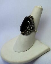 Gorgeous Vintage Black Swirled Agate Flower Mount Sterling Silver Ring Sz 6 1/2
