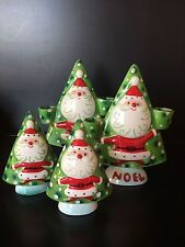 Rare vtg set Napco Santa Noel candle holders w/ salt & pepper shaker bells Japan