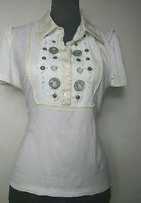 Karen Millen Designer Womens Cream Short  sleeve T-shirt  Blouse Top Size UK 14