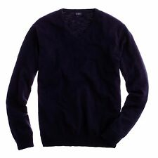 J. CREW Sweater LARGE Blue V Neck MENS Slim FIT Cotton A2061 Size Man NAVY $80**