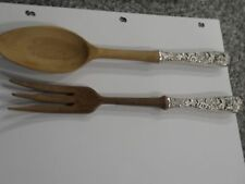 "S Kirk & Son Sterling Silver Handle Wooden 11"" Salad Server Fork and Spoon Set"
