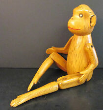 "22"" HAND CARVED/PAINTED WOODEN MONKEY SHELF SITTER JOINTED LEGS/MOVEABLE ARMS"