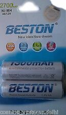 2 pcs Beston AA 2700 mAh AA 1.2v Ni-MH (HR-06) Rechargeable Battery Batteries