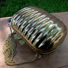 Vintage 20s Solid Brass Deco Clamshell Clutch Purse Velvet Lined Needs New Clasp