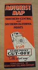 """RARE 1920's """"MOTORIST MAP""""~N & S CA Points VIA """"SEARS POINT CUT-OFF"""" Toll Road~"""