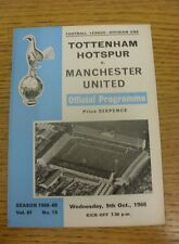 09/10/1968 Tottenham Hotpsur v Manchester United  (light fold).  We are pleased