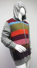 New 1,347 Dolce & Gabbana Mens Striped Gray Hooded Cashmere Sweater 56 US46