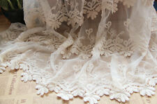Ivory Lace Fabric Embroidered Organza Tulle Gauze Scalloped Edge 47.24""