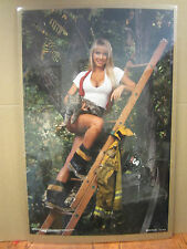 vintage Beauty on Duty Firewoman hot girl 1993 Poster original  2076