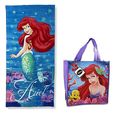 "Disney Princess Ariel Lil Mermaid Beach Towel Pool Bath Cotton 28""X58"" + Bag NEW"