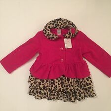 NWT MACK & CO Girls Hot Pink with Leopard Print Fleece Jacket/Coat Size: 3T