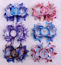 "Lot 6pc Frozen girl baby toddler 4"" boutique Hair Bows Grosgrain ribbon 2011"