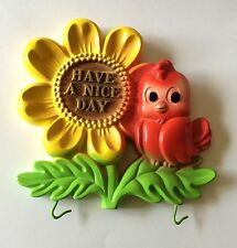 1974 Miller Studio Chubby Red Bird Sunflower Have a Nice Day Chalkware Plaque