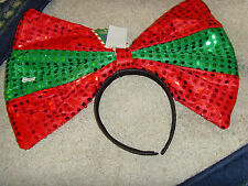 XL BIG Novelty Christmas bow headband Sequins Claires hair accessory holiday NEW