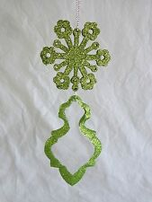 Christmas Ornament Snowflake with Dangling Glass Pendant GREEN GLITTER 6.5""