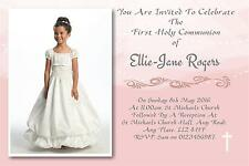 50 Personalised Girls Pink First , 1st Holy Communion Invitations / Invite