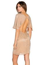 Sz 6 New Parker $396 Fiona Beaded Beige Silk Cut Out Back Flutter 7020