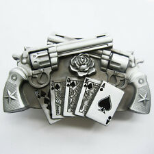 Guns Royal Flush Poker Cards Metal Belt Buckle