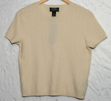 NWT Ralph Lauren Cream Cable Knit Short Sleeve Sweater - Petite - Size M