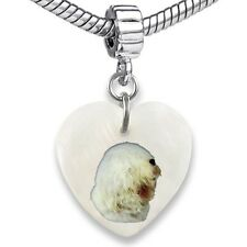 Old English Sheepdog Heart Mother Of Pearl European Bracelet Charm Bead EBS183