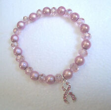 Rosa crystal/miracle Pulsera de abalorios-Cinta Rosa Encanto-Breast Cancer Awareness