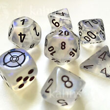 Chessex Dice Poly - Borealis Aquerple Set Of 7 - d6 Reticle & pips Variant  Rare