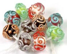 LAMPWORK Glass Colorful Scroll Rondelle Beads (10)
