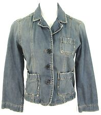 Abercrombie & Fitch Jean Jacket M Womens Distressed Blue Denim Blazer Top