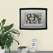 Self Setting Digital LCD Home Office Decor Wall Clock Indoor Temperature SY