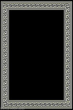 5x7  Area Rug  Modern Greek Key Design Solid Black with Border  New